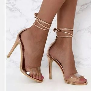 Pretty little thins clear Rose Gold Strappy Heel 6